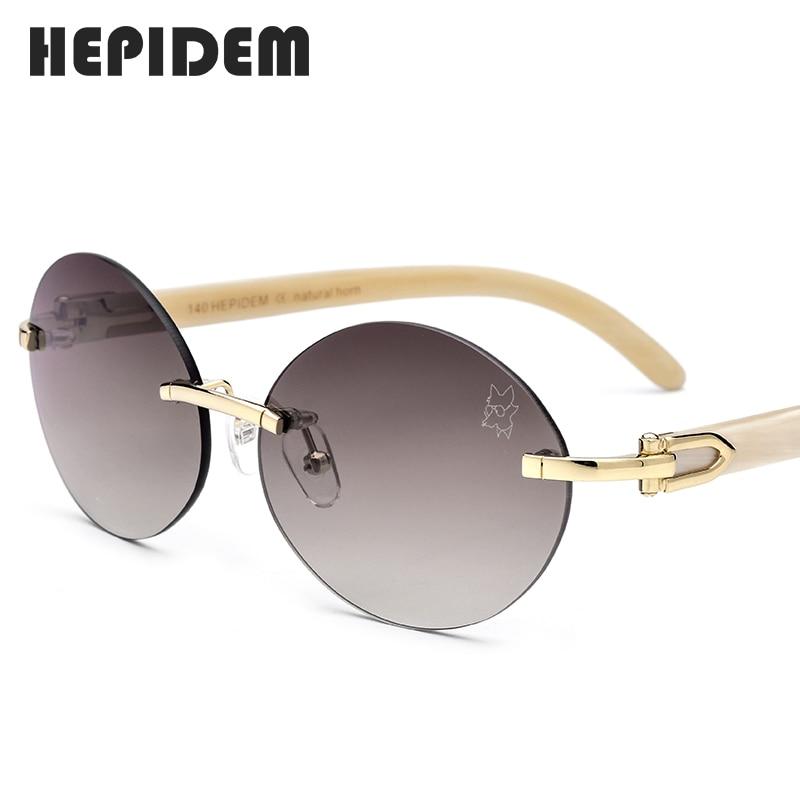 Glasses Frame Rimless Sunglasses New High Quality Men Round Sunglass Luxury Eyewear Eyeglasses Buffalo Horn Glasses