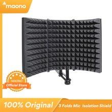 Microfone dobrável isolamento acústico escudo liga espuma acústica painel estúdio gravação microfone acessórios