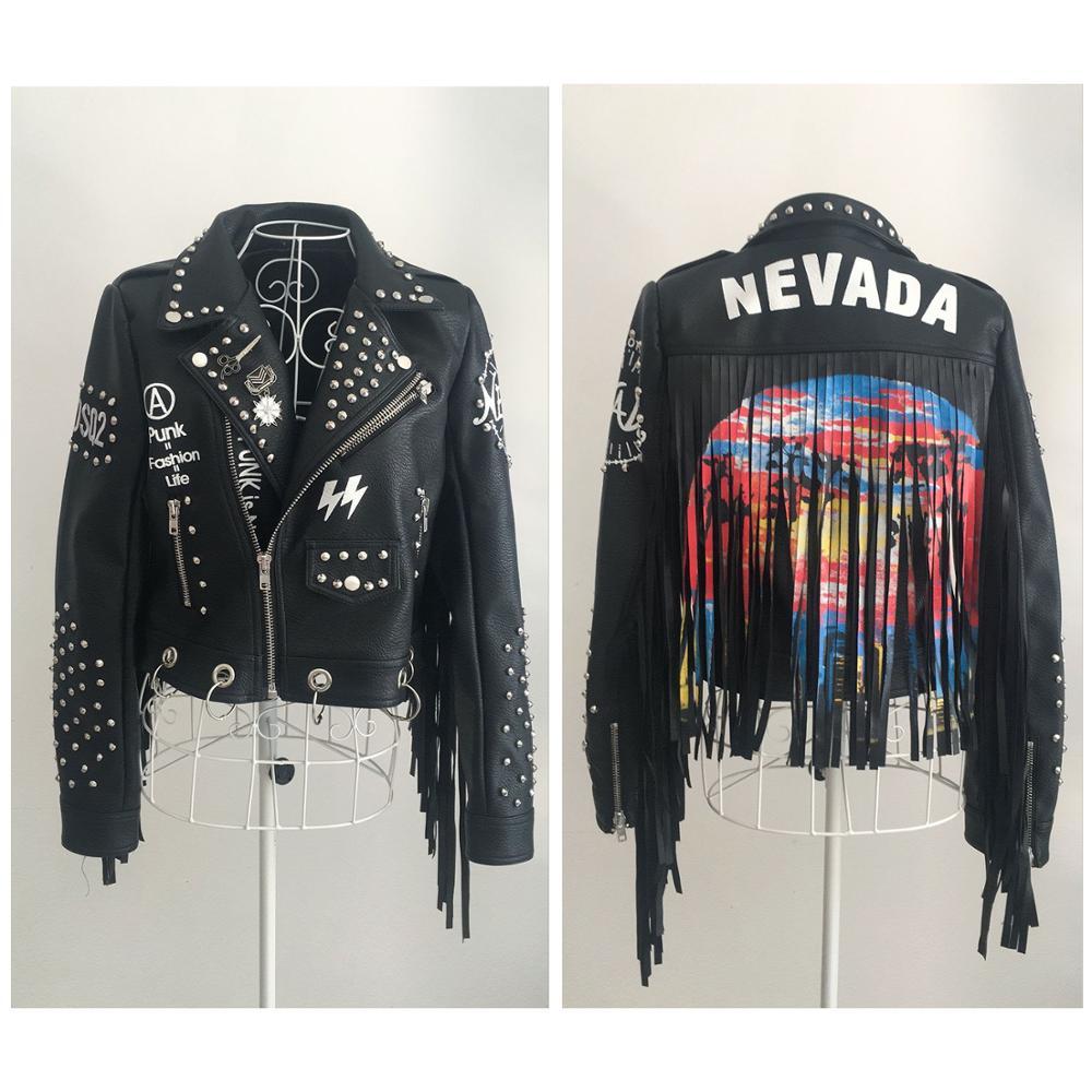 LORDLDS, женская черная кожаная куртка с кисточками, 2019, уличная одежда, на молнии, с заклепками, модный блогер, Панк куртки, женские пальто, верхняя одежда - 5