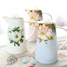 Керамическая посуда для воды Европейский стиль жаростойкий костяной фарфоровый чайник бытовой кофейник бак для холодной воды цветочный чайник