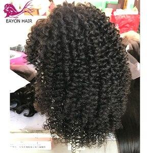 Image 4 - EAYON kręcone ludzkie włosy koronki przodu peruki 130% gęstości brazylijski peruka z kręconych włosów typu Kinky z pełną grzywką dla czarnych kobiet Remy włosy