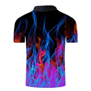 Image 2 - Mens Fashion 3D Printed Short Sleeves Polo Shirt Blue Red Flame 2019 New Summer Loose Slim Fit Casual Polo Shirt