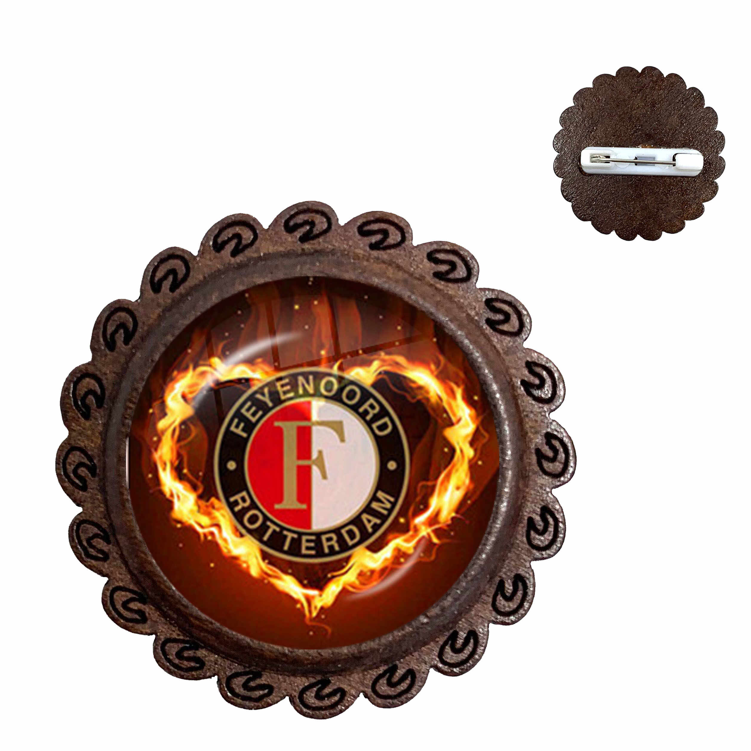 Feyenoord Football Club Glass Cabochon Brooches Feyenoord Rotterdam Football Leagues Logo Soccer Club Collar Pins For Fans Gift