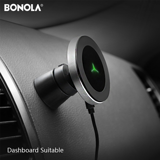 Bonola Car Wireless Charger For iPhone11/11Pro/XsMax/Xr/8plus Qi Magnetic Fast Wireless Car Charger For SamsungS10/S9/Mi Note10