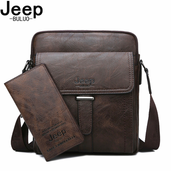 JEEP BULUO High Quality Large Capacity Man Bag Crossbody Men Messenger Bags Shoulder Tote Bags For Male Split Leather Bags New jeep buluo men messenger bag high quality handbags man s black business split leather shoulder bags for men tote 2019 new