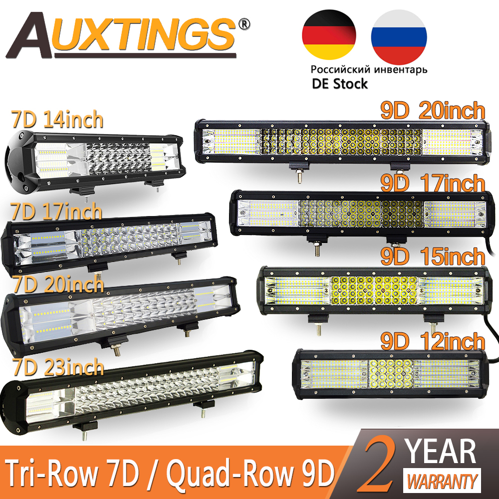 Auxtings 7D 9D Tri-row/Quad Row LED Bar LED Light Bar For Car Tractor Boat OffRoad Off Road 4WD Truck SUV ATV Driving 12V 24V
