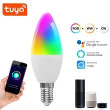 Tuya wifi bulbo rgb + w + c led vela lâmpada e14 pode ser escurecido luz vida inteligente/controle remoto compatível com alexa google casa