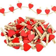50 unids/lote 3cm de madera lindo de madera de amor corazones Clips DIY Banner de foto manualidades casa cumpleaños decoración de la boda broches para la ropa