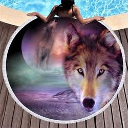 Wolf Print Luxury Round Beach Towel Circle Beach Towel with Tassel Animals Beach Blanket Yoga Mats for Girls Womens Home Decor