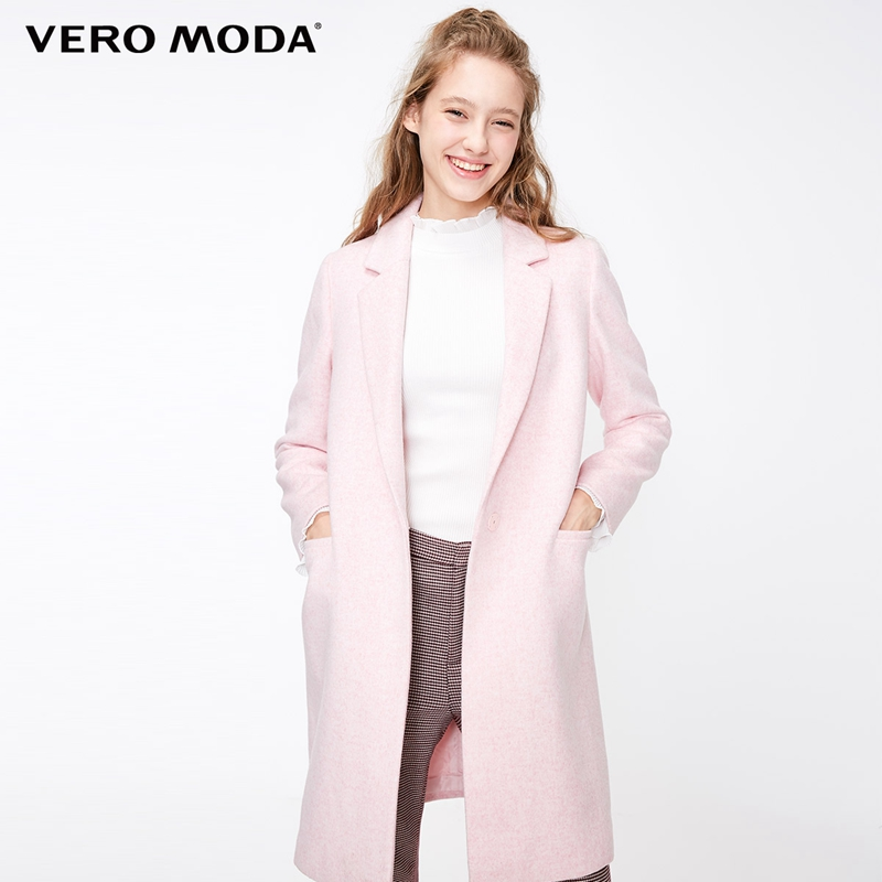 Vero Moda Women's Lapel Straight Long Woolen Coat  | 318327506
