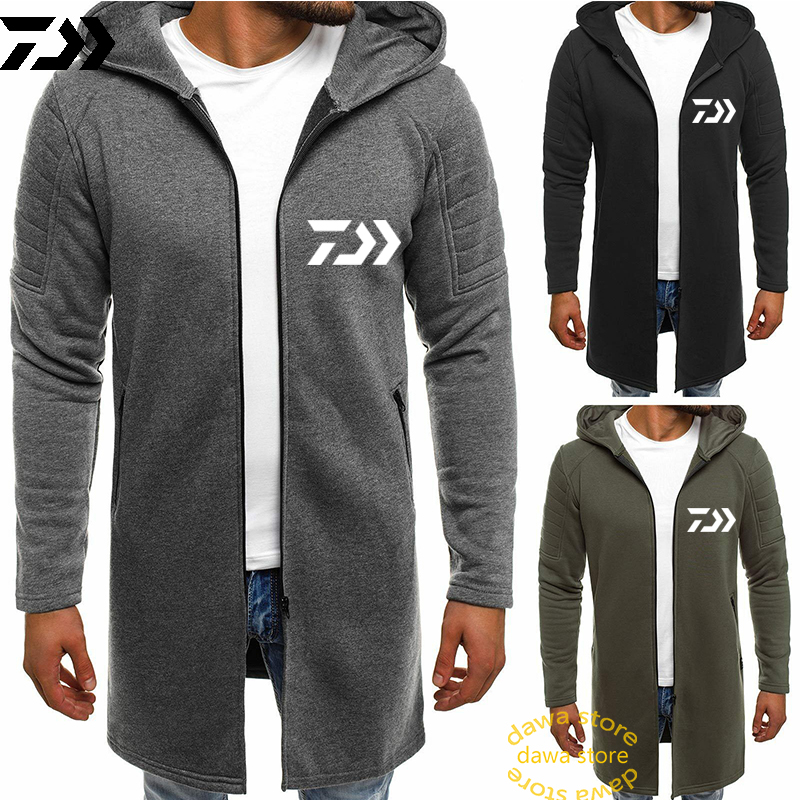Daiwa Thermal Fishing Jacket Solid Cotton Medium Long Fish Clothes Men Thick Velvet Zipper Hiking Outdoor Sports Clothing