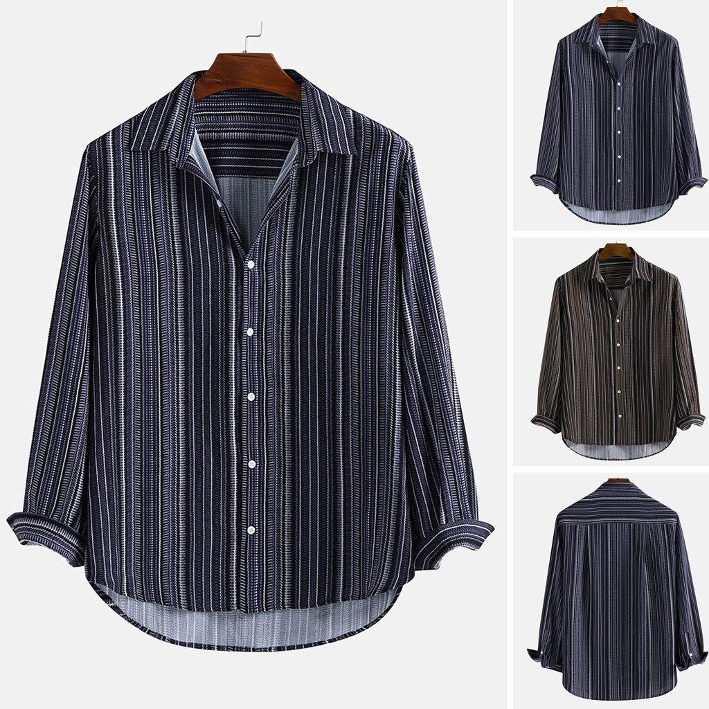 2019 Mens Ethnic Style Stripe Printed Turn Down Collar Long Sleeve Shirt Blouse Tops Badminton Men Clothing Soft Comfortable