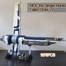 Creator MOC Building blocks Alien Space ship war the Stinger Mantis-Fallen Order V2 Assembly model Star plan Children Toys gifts