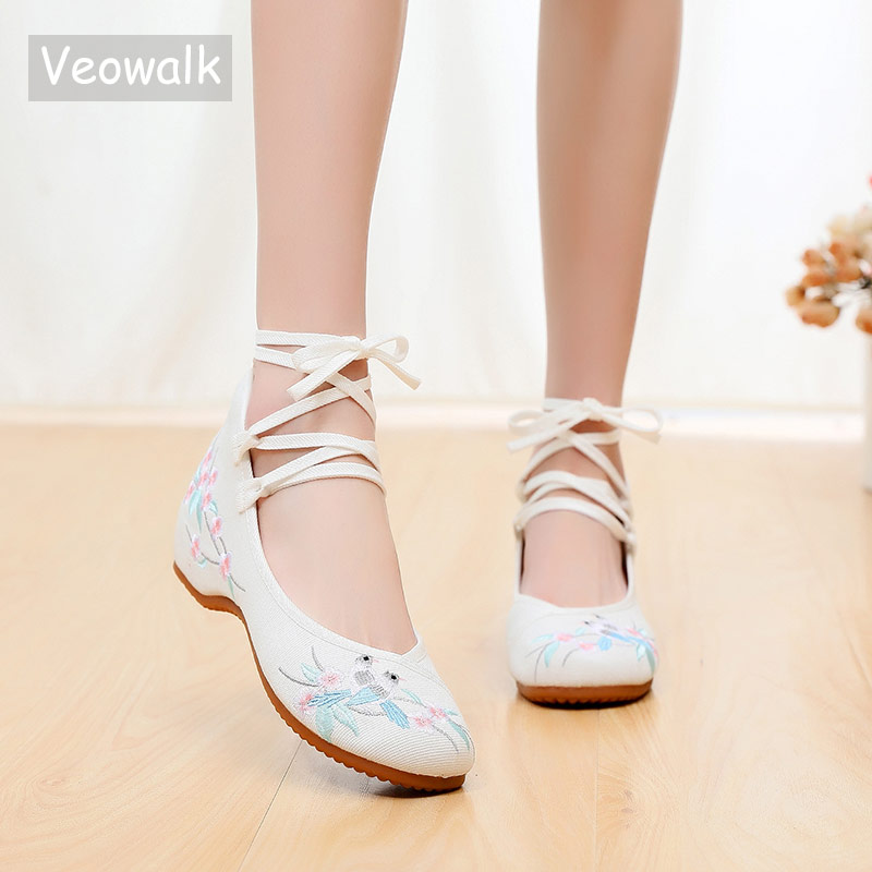 Veowalk Women Strappy Denim Embroidered Ballet Flats Chic Style Comfortable Ladies Canvas Flat Shoes Soft Woman Ballerinas White