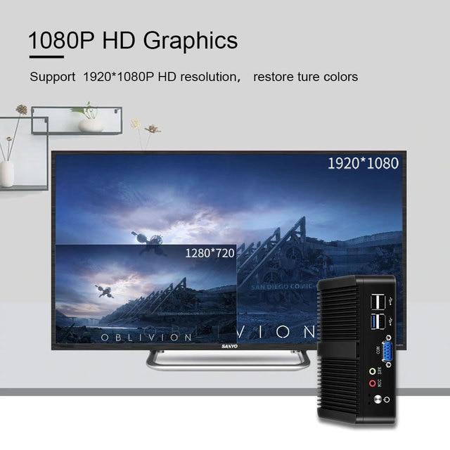 BEBEPC Mini PC Fanless Intel Celeron J1900 N2830 Dual LAN Windows 10 N2930 4 Core Industrial Mini Computer 2*COM WiFi VGA HTPC 2