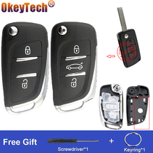 OkeyTech изменение откидная оболочка ключа дистанционного управления Fob для Peugeot 306 407 партнером для Citroen C2 C4 C5 C6 Berlingo; Picasso CE0536/23