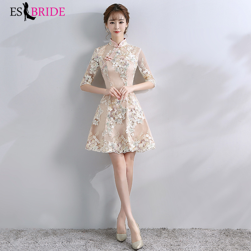 New Arrival Elegant Evening Dresses 2019 Champagne Embroidery High Neck Short Student Formal Party Dresses Robe Soiree ES30077
