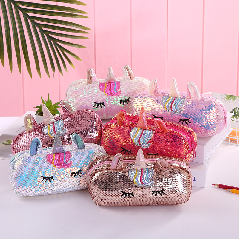 Girl Sequin Unicorn Cosmetic Case Women Cute Storage Bag Travel Washing Bag Student Cartoon Pencil Case PU Zipper Makeup Pouch