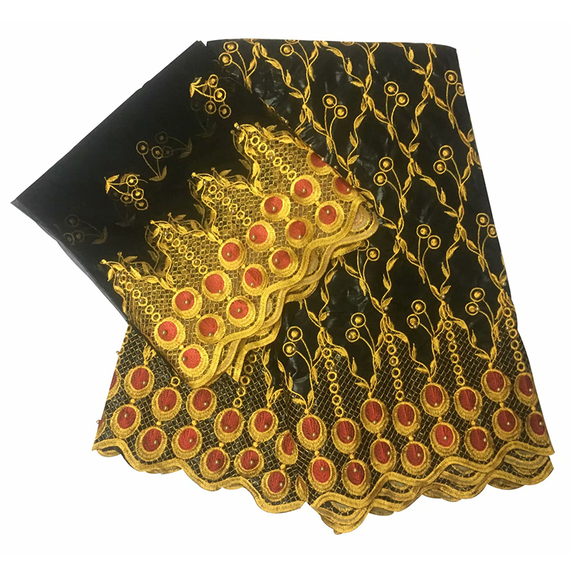 black gold lace embroidery wax beading African diy fabric 2019 new arrival guinea brocade nigerian gele headtie 5 2yards lot in Fabric from Home Garden