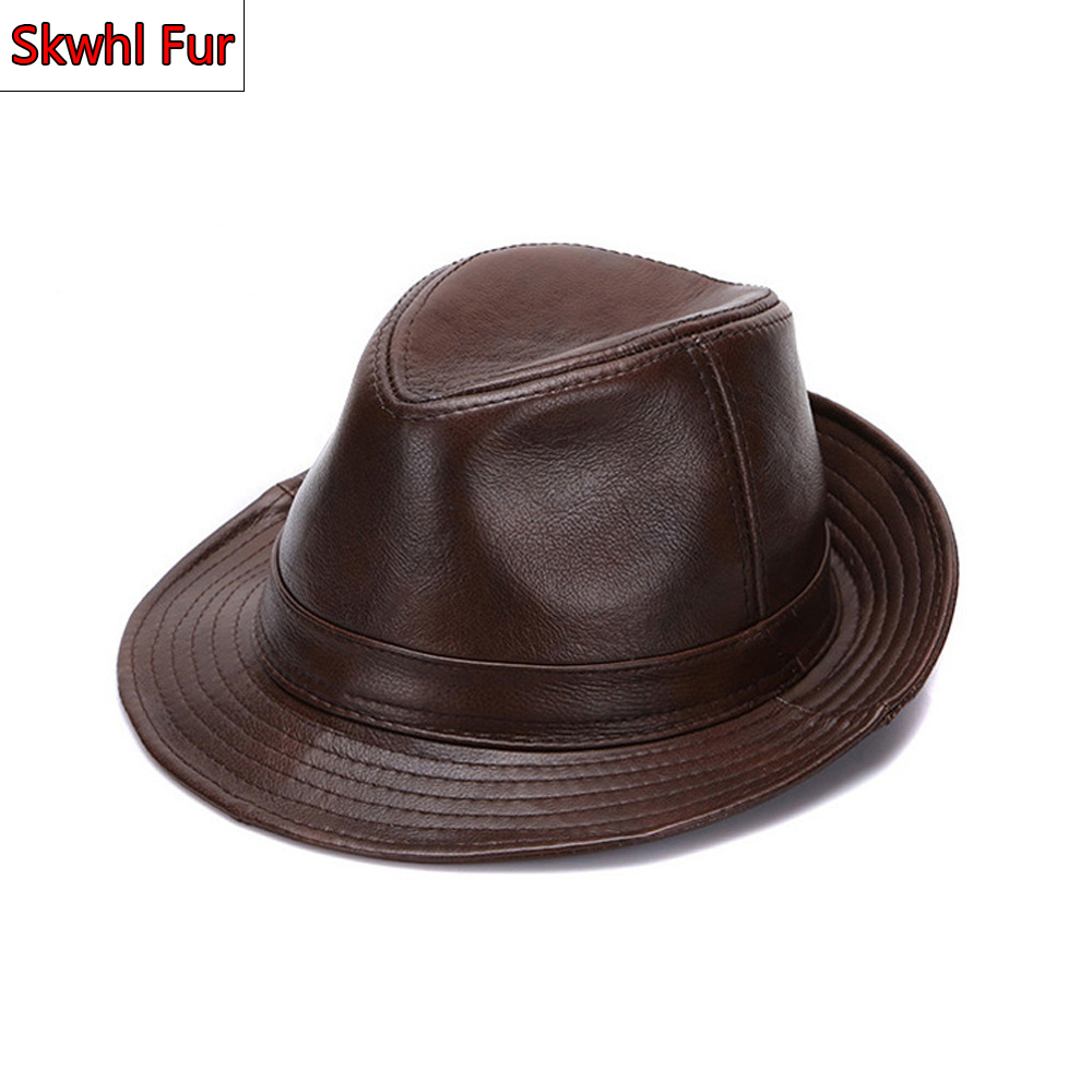 Autumn Winter Warm Men Real Genuine Cowhide Leather Top Hats Men Fashion Real Cowhide Leather Caps Real Leather Fedoras Cap