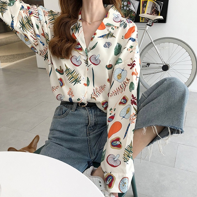 Autumn Blouses Women Vintage Printed Long Sleeve Turn Down Collar Pleated Shirts Female Casual Wear Chic Blouse Top 4