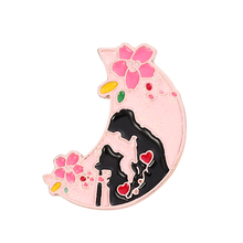 Anime Sailor Moon Shiny Pastel Enamel Pin Cherry Blossoms Moon Pink Brooch Women Men Couple Heart Valentine's Day Gift