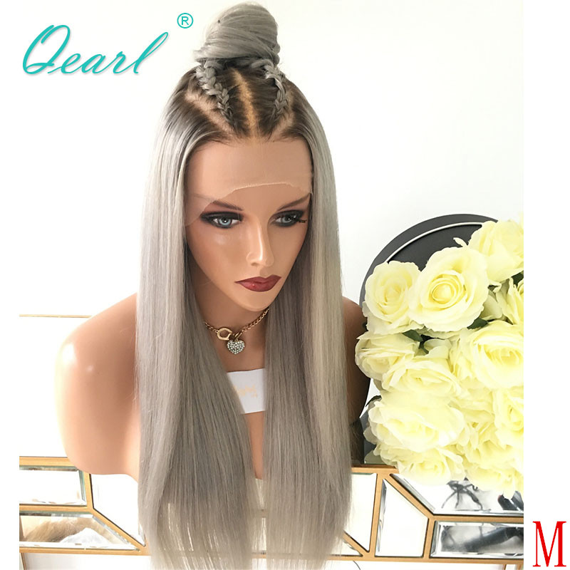 Deep Long Middle Part Human Hair Full Lace Wig Ashy Grey Blonde Color Malaysian Straight Remy Hair Wigs For Women 150% Qearl