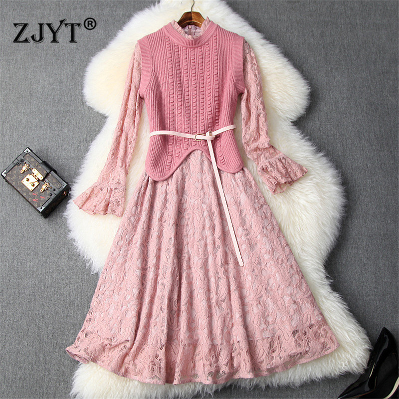 New Fashion Fall Winter Dresses for Women 2019 Designers Irregular Knitted Top+Flare Sleeve Aline Lace Party Dresses 2piece Sets 49