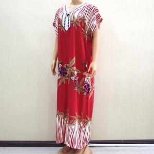 Image 4 - 2019 Fashion New Arrival Wonderful Red 100% Cotton Appliques V Neck Short Sleeve Long Dress African Dashiki Long Dress