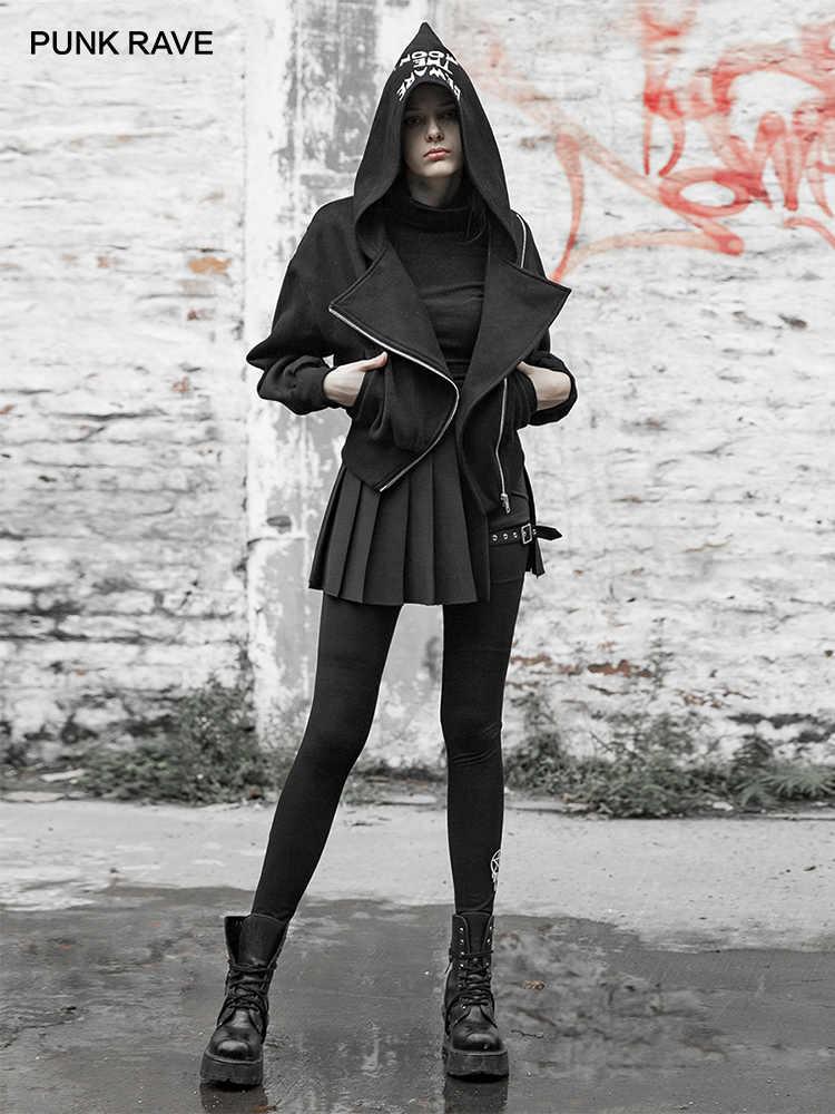 Женская толстовка с капюшоном в стиле панк, с вышивкой, диагональная молния, повседневная короткая куртка в стиле панк