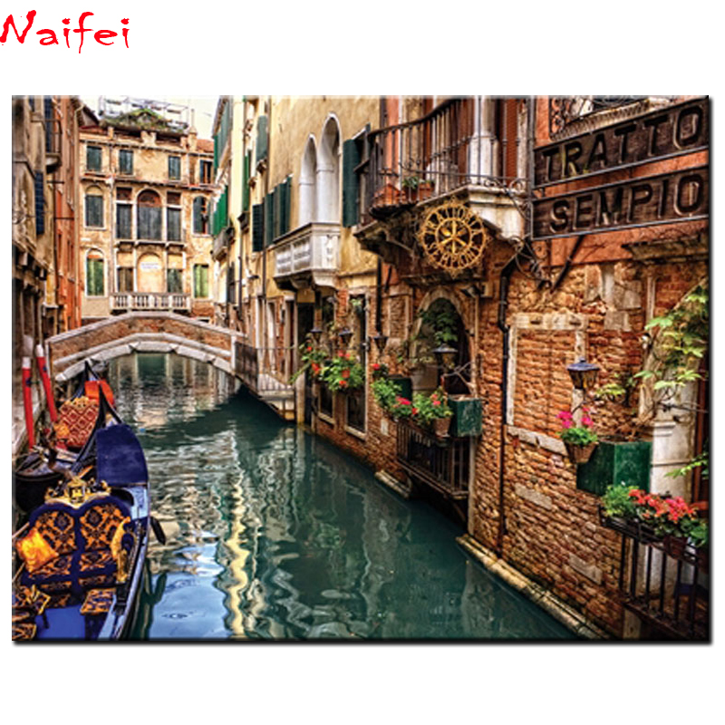 Full Square/Round Drill 5D DIY Diamond Painting Landscape Small town in Venice Italy Embroidery Cross Stitch 5D Home Decor Gift image