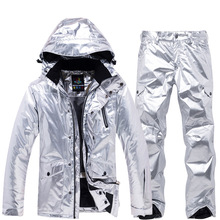 Winter jacket women/men ski suit Couple models winter outdoor silver waterproof warm thick section clothing