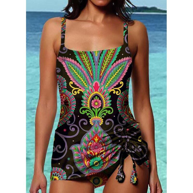 2020 novas mulheres roupa de banho impressão bandagem maiô sem costas maiô beachwear natação monokini conservadora menina