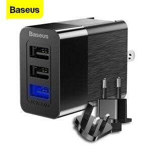Image 1 - Baseus 3 Port USB şarj 3 in 1 üçlü ab abd İngiltere tak 2.4A seyahat duvar şarj adaptörü cep telefonu şarj için iPhone X Samsung