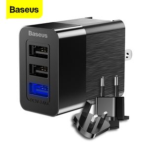 Image 1 - Baseus 3 Port Usb Charger 3 In 1 Triple Eu Ons Uk Plug 2.4A Travel Wall Charger Adapter Mobiele Telefoon oplader Voor Iphone X Samsung