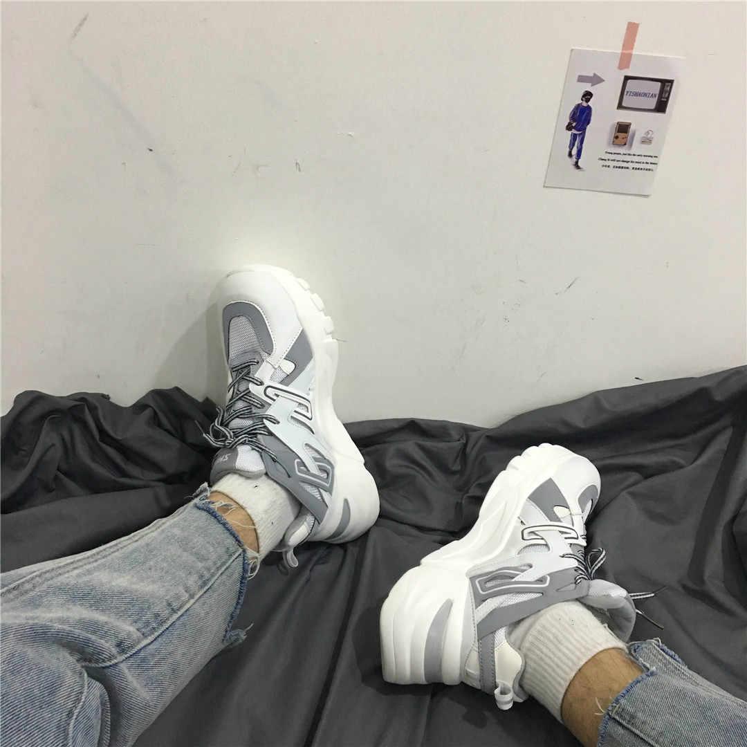Ins Daddy Schoenen Mannen Reflecterende Sneakers Zomer Zapatillas Deportivas Hombre Mode Ademende Casual Schoenen Sapato Masculino
