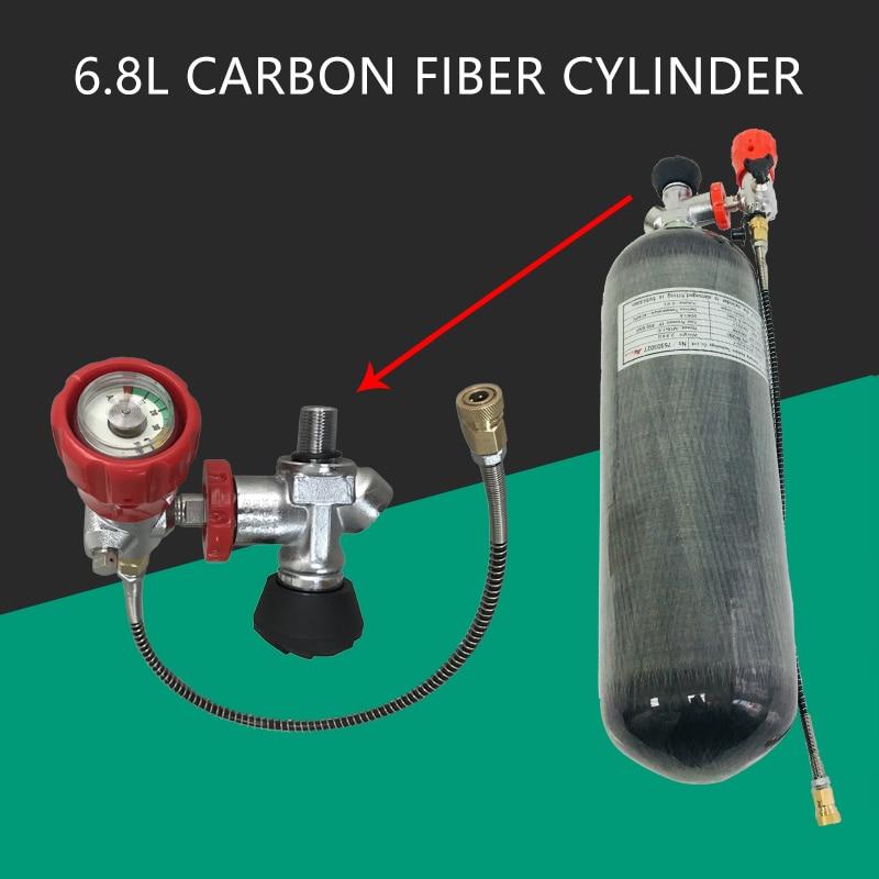 Acecare  Pcp Air Gun Tank 6.8L Paintball Carbon Fiber Cylinder 300Bar CE Scuba Tanks & Valve & Filling Station Airforce Condor