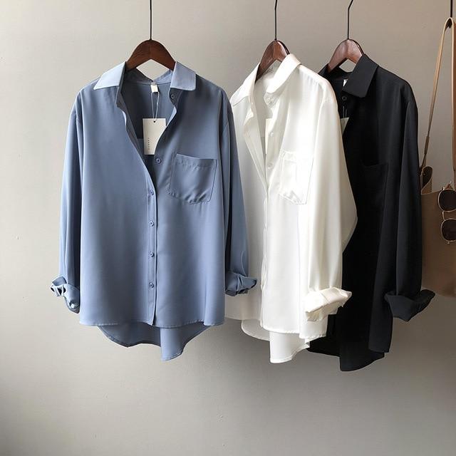 White Women Blouse Ol Commuting 2021 Spring Lapel Long Sleeve Women Blouses Office Fashion Elegant Loose White Women Shirt Top 1