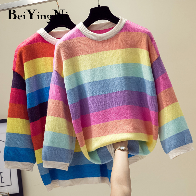 Beiyingni Rainbow Stripe Sweater Women Korean Loose Warm Autumn Winter Cashmere Knit Sweaters Female Pullover Tricot Jersey Tops