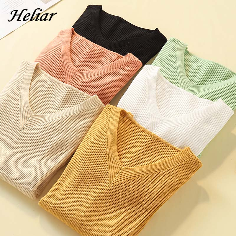 Heliar Solid Plain V-Neck Sweater Women Casual Knitted Sweater Women Casual Thin Street Pullovers 2019 Autumn Female Sweater