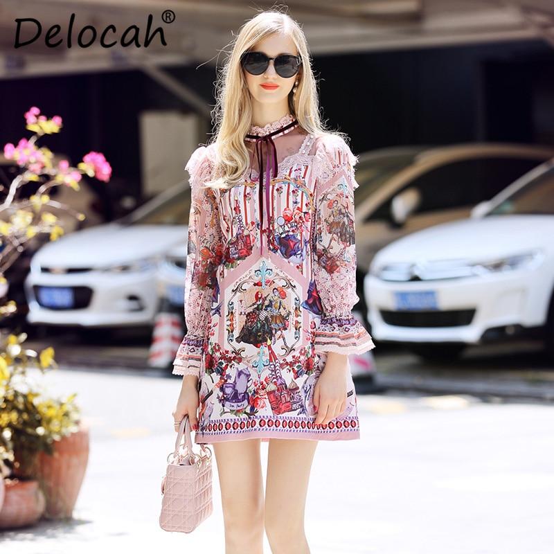 Летнее модное платье для женщин трапециевидной формы с цветочным принтом вечерние повседневные винтажные платья Элегантное женское плать... - 2