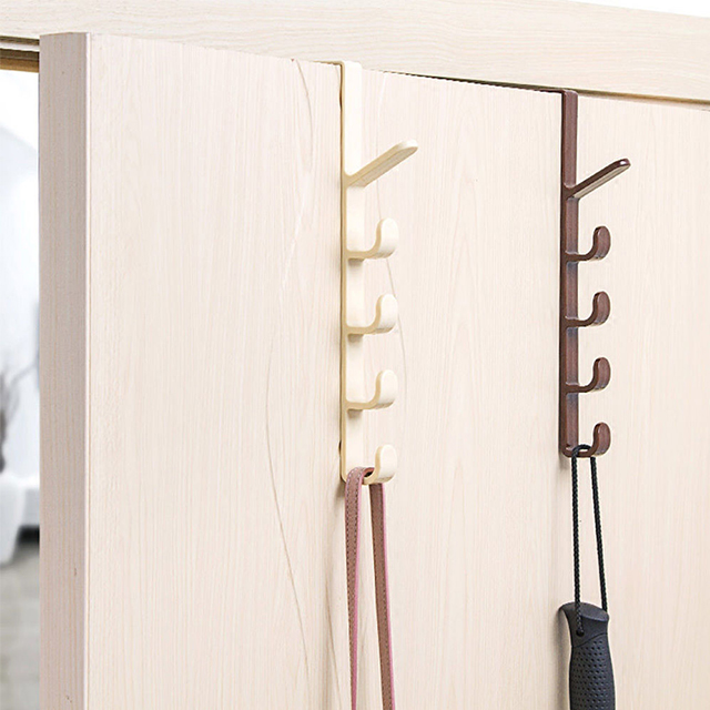 Plastic Bedroom Door Hanger Home Storage Organization Hooks Rails Clothes Hanging Rack Holder Multipurpose Hooks For Bags Towel