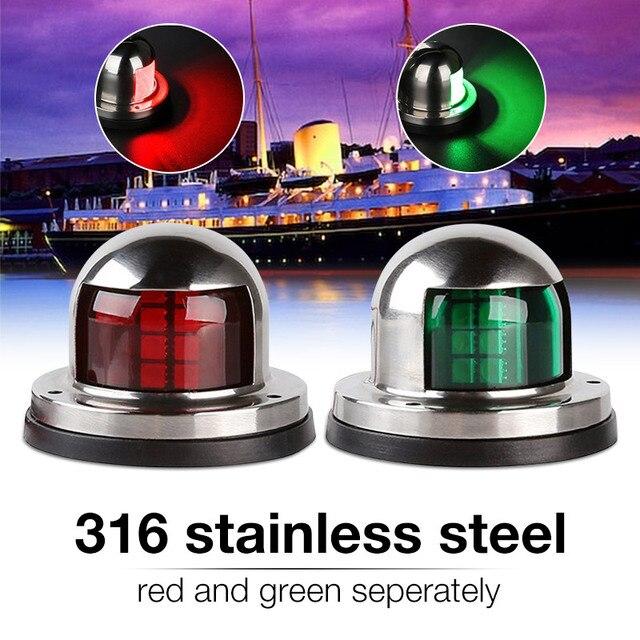 1 par de aço inoxidável 12 v led arco luz navegação vermelho verde vela sinal luz para barco iate marinho luz advertência barco parte