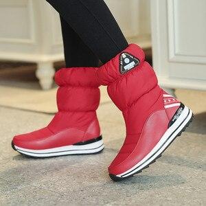 Image 5 - Fedonas最新の女性フラットプラットフォーム冬暖かい雪のブーツ品質防水靴高靴