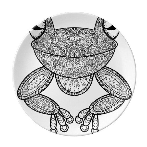 Assiette à Dessert porcelaine décorative 8 pouces | Petite grenouille verte à peindre, assiette décorative pour le dîner à la maison