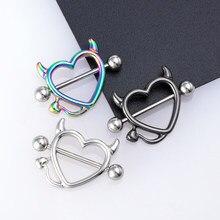 1 par 14g aço inoxidável mama piercing jóias coração nipple piercing barra nipple anéis escudo capa barbell piercings sexy