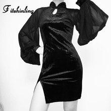 Fitshinling Lantern Sleeve Vintage Cheongsam Goth Dark Slim Velvet Dresses Autumn Winter Mesh Patchwork Slit Black Dress Women