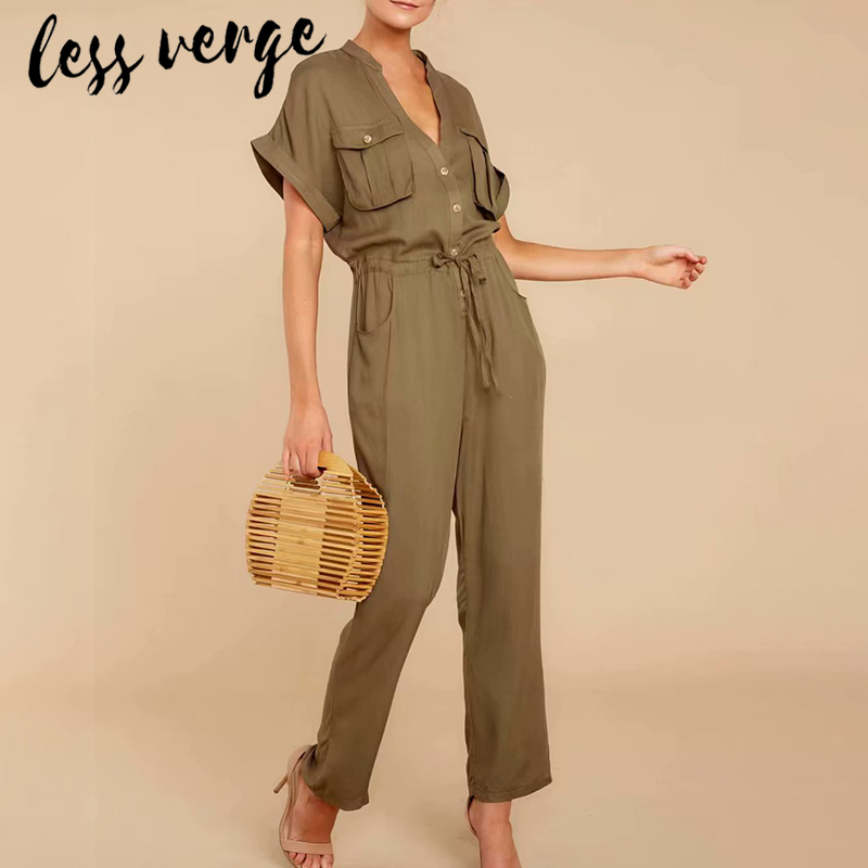 lessverge <font><b>Green</b></font> v neck short sleeve <font><b>women</b></font> <font><b>jumpsuit</b></font> long Casual pockets lace up ladies <font><b>jumpsuit</b></font> romper Plus size <font><b>sexy</b></font> overalls image