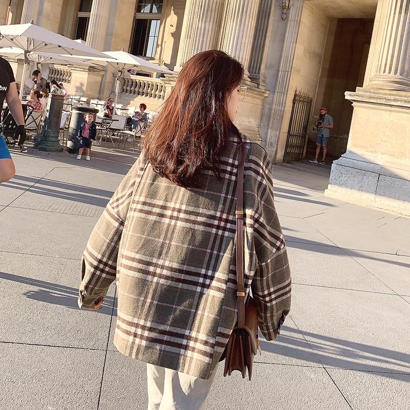 MISHOW 2019 Autumn Winter Gray Thick Woolen Coat Women Causal Lapel Striped Plaid Long Sleeve Coat Jackets  MX19C9538 5