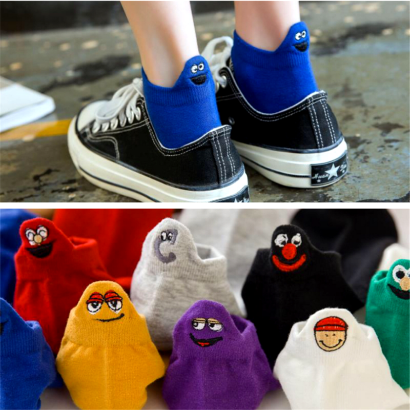 Summer Japanese Kawaii Socks Woman Embroidered Expression Socks Fashion Ankle Funny Sock Women Cotton Thin 1 Pair Candy Color